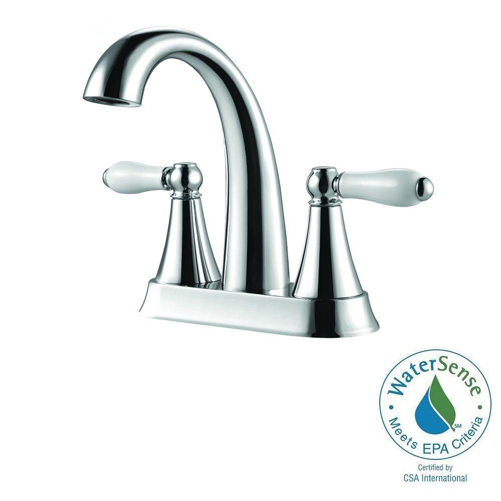 Pfister Kaylon 4 in. Centerset 2-Handle High-Arc Bathroom Faucet in Polished Chrome and Ceramic