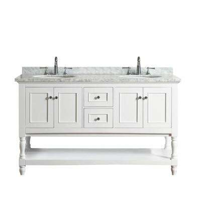 Cape Cod 60 in. Double Sink Bath Vanity in White with Marble Vanity Top in Carrara White with White Basins