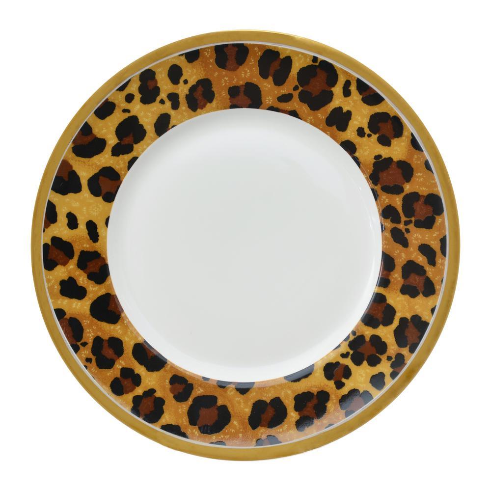 222 Fifth Serengeti Leopard 16 Piece Electropated Gold Porcelain Dinnerware Set 4093eg803c1c25 The Home Depot
