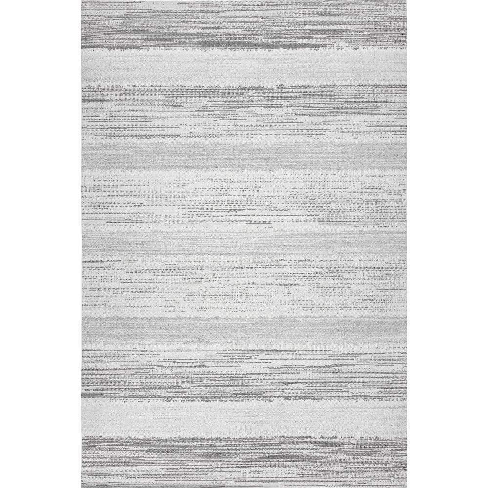 Nalani Faded Stripes Outdoor Gray 8 ft. x 10 ft. Area Rug