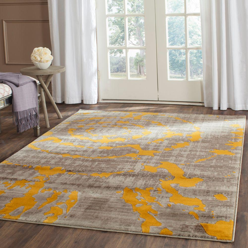 Safavieh Porcello Light Grey Yellow 6 Ft X 9 Ft Area Rug