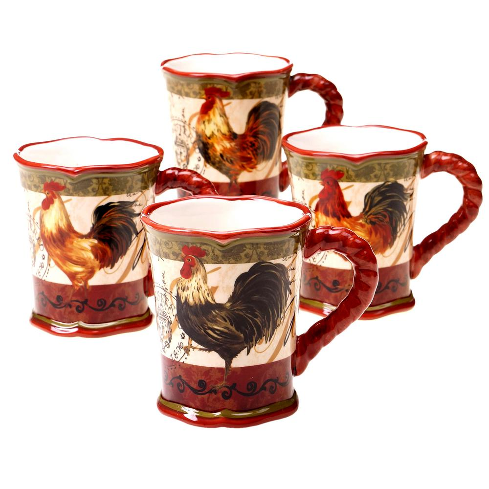 Certified Intl Tuscan Rooster 16 oz. Red Mug (Set of 4)