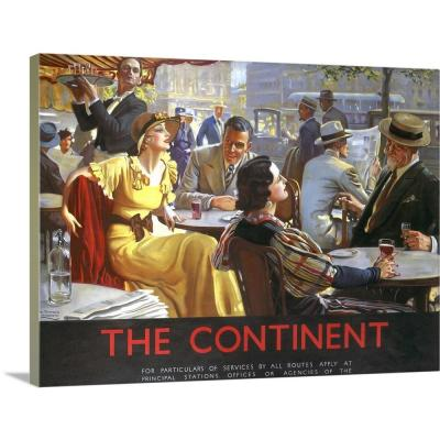 """24 in. x 18 in. """"The Continent Cafe Vintage Advertising Poster"""" by ArteHouse Canvas Wall Art"""