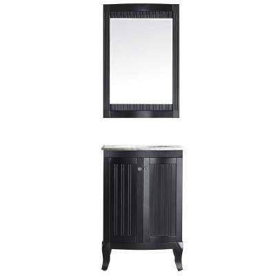 Verona 24 in. W x 23 in. D x 35 in. H Vanity in Espresso with Marble Vanity Top in White with Basin and Mirror
