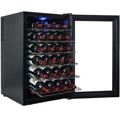 28-Bottle Single Zone Thermoelectric Wine Cooler in Black with Touch Control