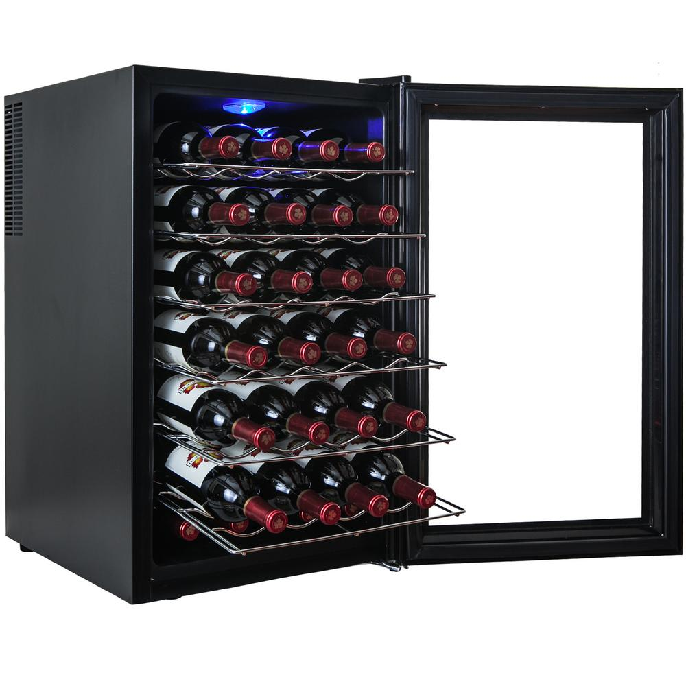 black wine cabinet. AKDY 28-Bottle Single Zone Thermoelectric Wine Cooler In Black With Touch Control Cabinet