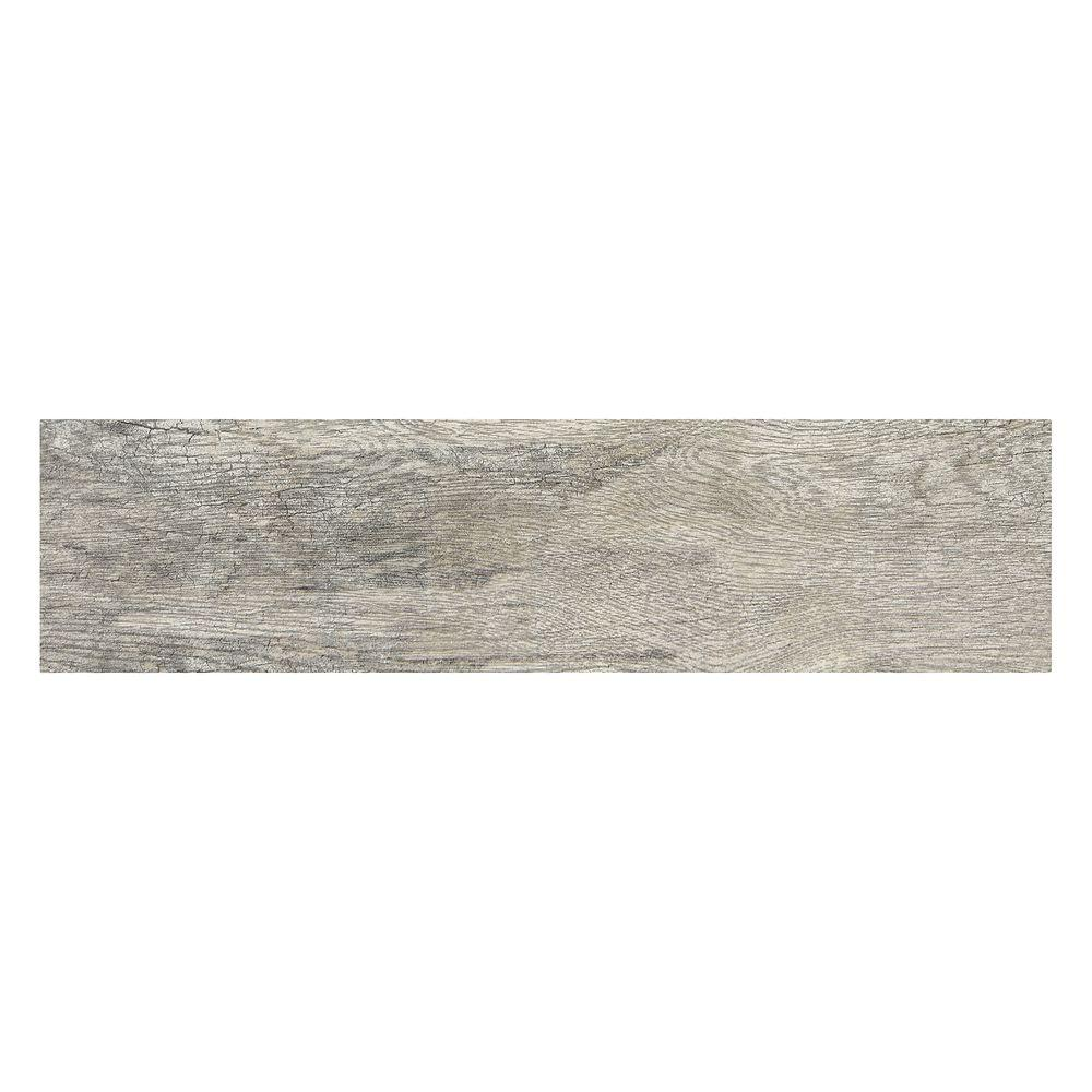 Wood porcelain tile tile the home depot montagna dapple gray 6 in x 24 in porcelain floor and wall tile dailygadgetfo Images