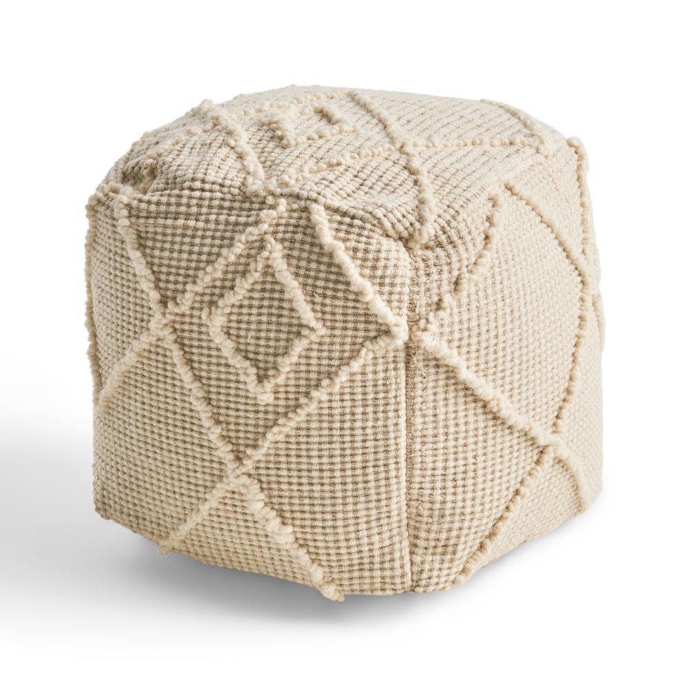 Merton Ivory Cube Ottoman Pouf