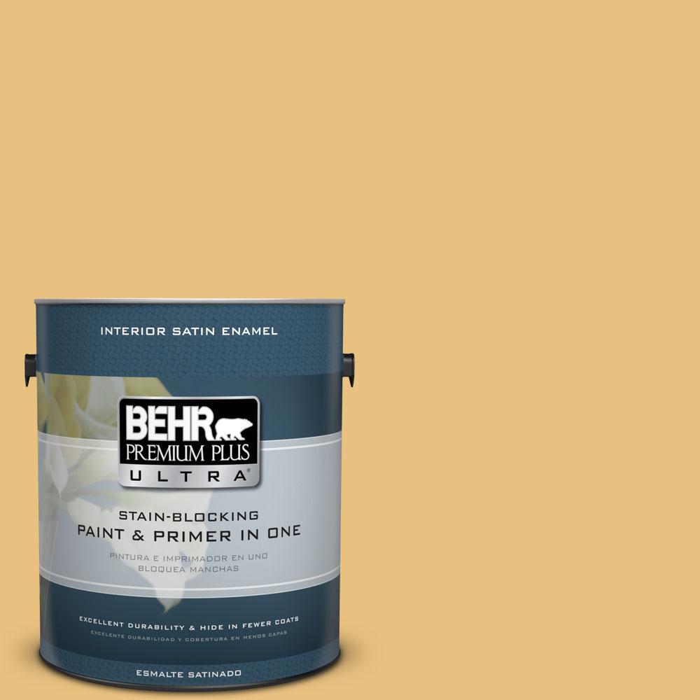 BEHR Premium Plus Ultra 1 gal. #340D-4 Honey Bear Satin Enamel Interior Paint and Primer in One