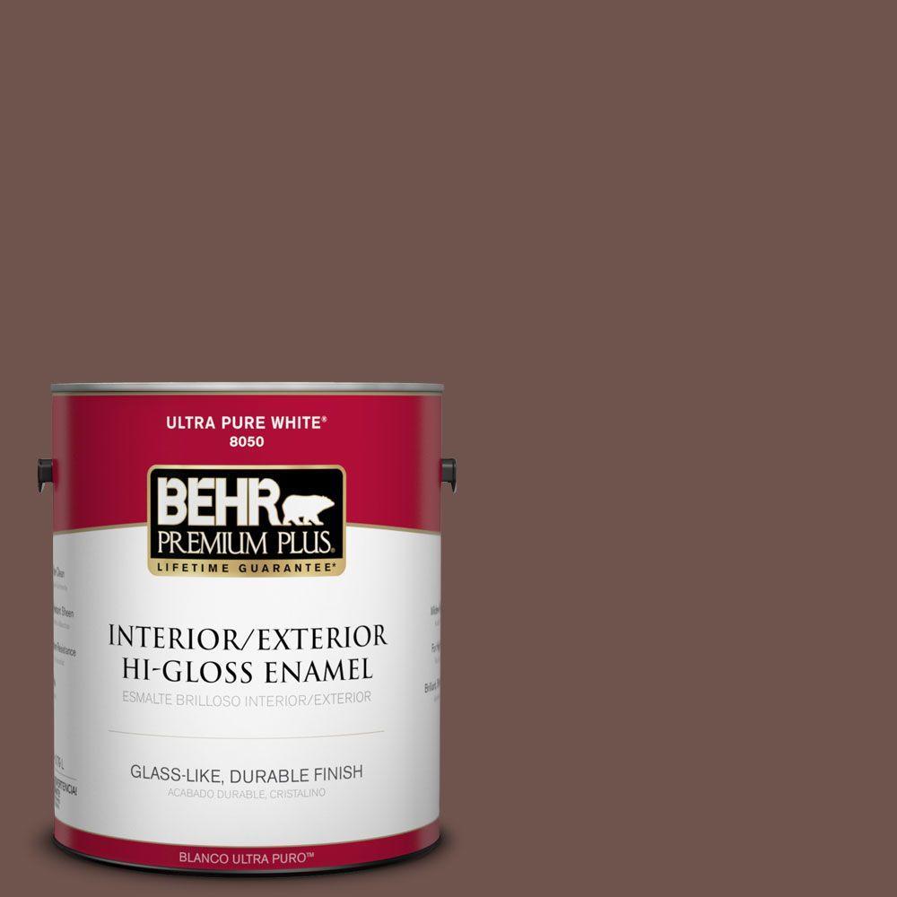 BEHR Premium Plus 1-gal. #N130-7 Double Fudge Hi-Gloss Enamel Interior/Exterior Paint