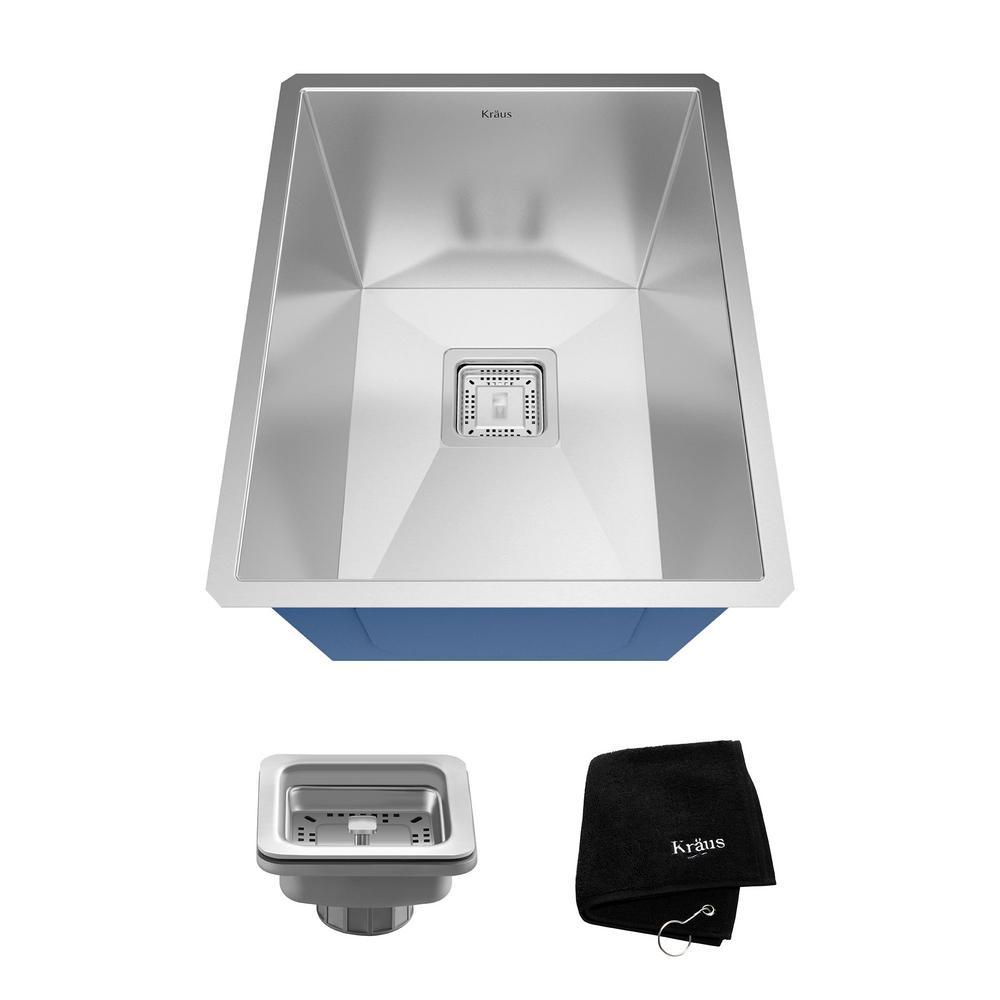 Pax Zero-Radius Undermount Stainless Steel 15 in. Single Bowl Kitchen Bar Prep Sink Kit