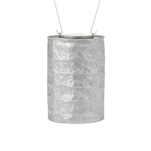 Soji Stella Cylinder 7.5 in. x 5 in. Silver Integrated LED Hanging Outdoor Tyvek UV Solar Lantern