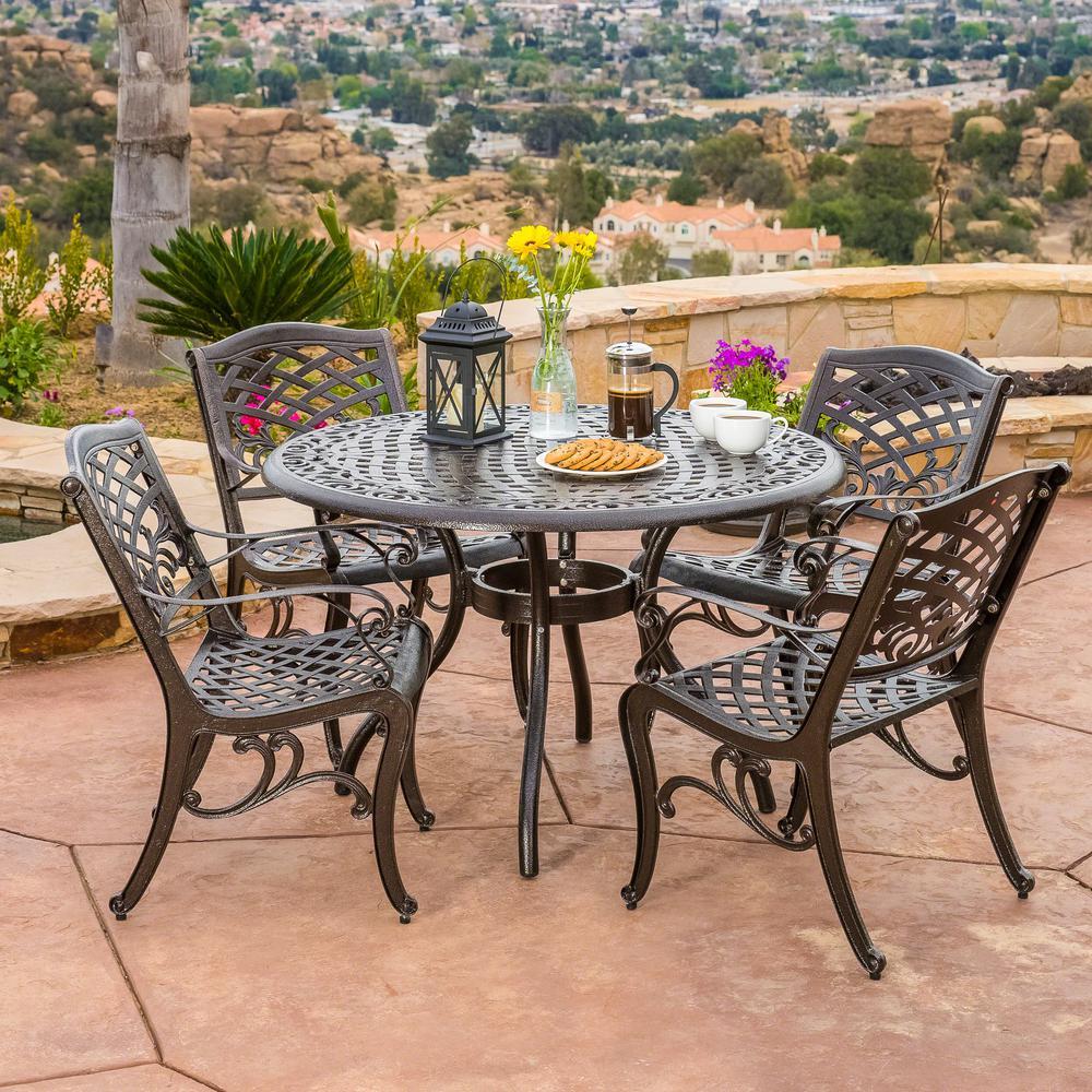Noble House Sarasota Bronze 5-Piece Aluminum Circular Outdoor Dining Set