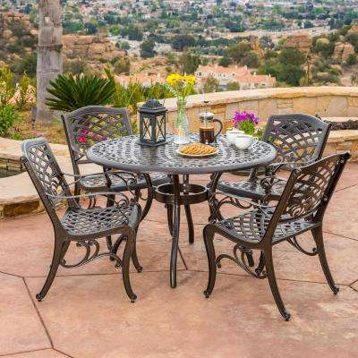 Aluminum patio furniture Tropitone Sarasota Bronze 5piece Aluminum Circular Outdoor Dining Set Home Depot Cast Aluminum Patio Dining Furniture Patio Furniture The Home
