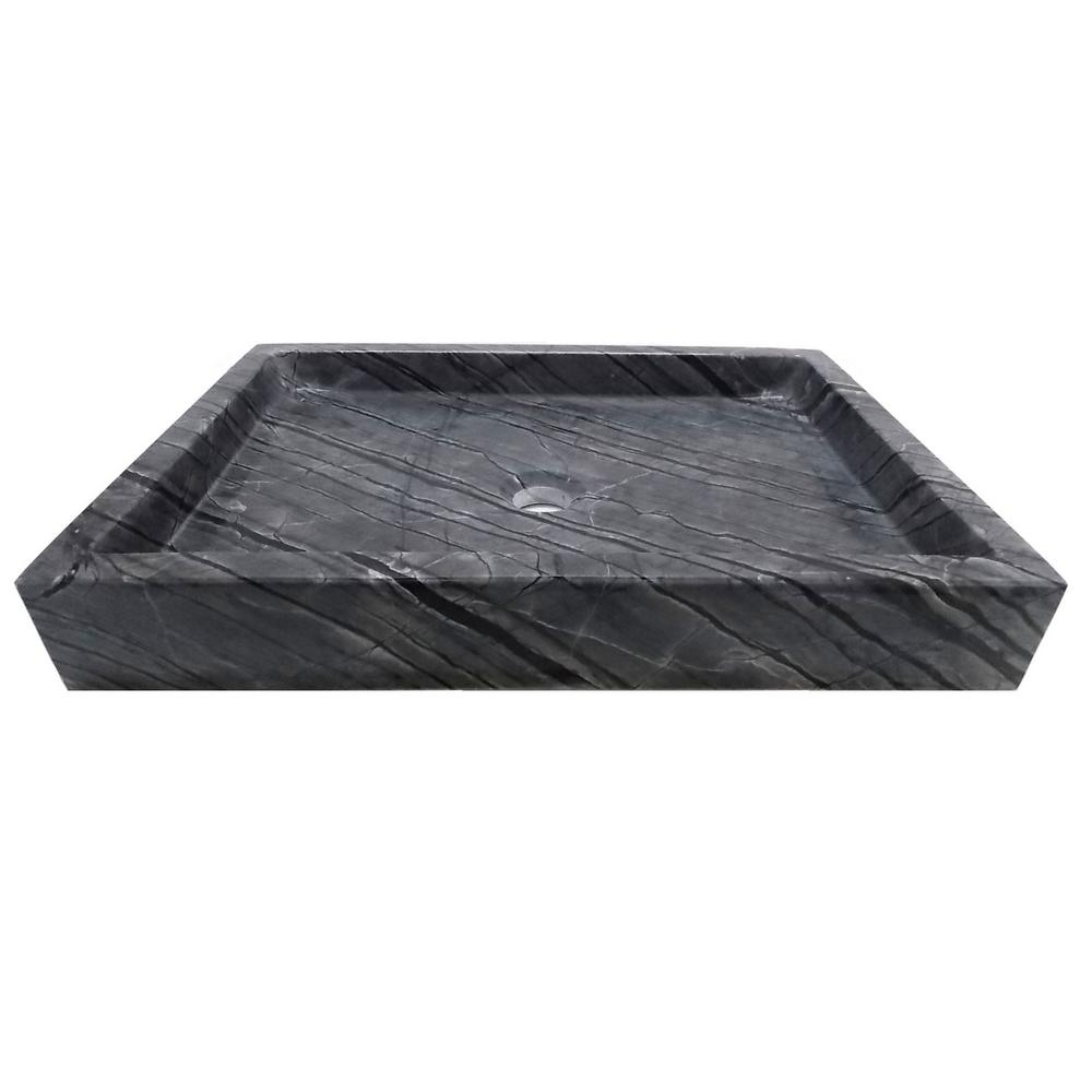 Rectangular Vessel Sink in Polished Wooden Black Marble