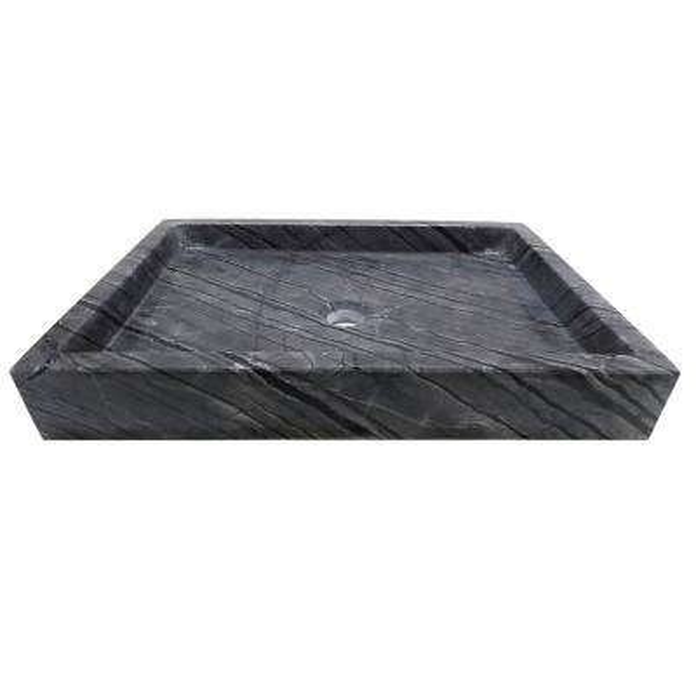 Rectangular Vessel Sink in Polished Wooden Black Marble