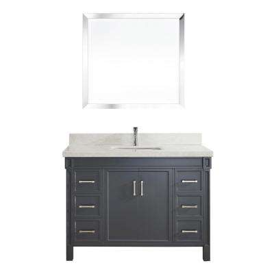 Serrano 48 in. W x 22 in. D Vanity in Pepper Gray with Engineered Vanity Top in White with White Basin and Mirror