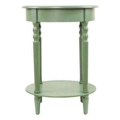 Simplify Antique Green Oval End Table