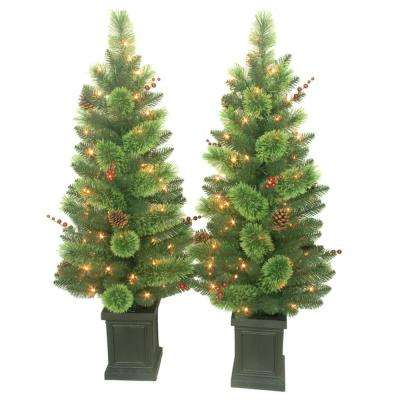 4 ft. Pre-Lit Artificial Christmas Savannah Berry Porch Tree (Set of 2)