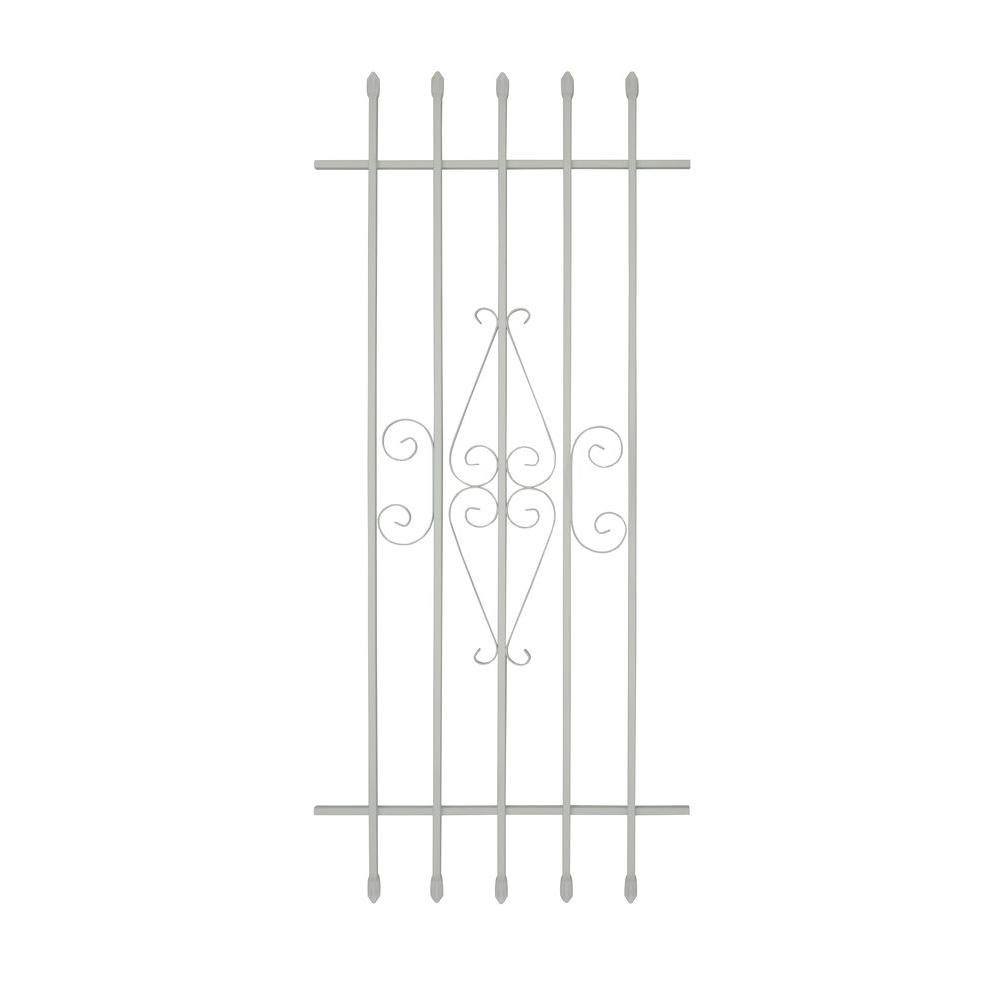 Grisham 24 in. x 54 in. Spear Point 5-Bar Security Bar Window Guard, White