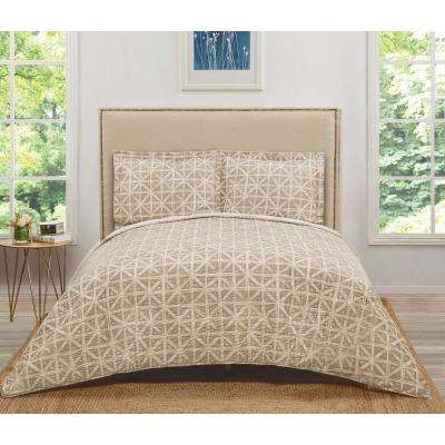 Celine Brown/Tan Golden Geometric King Quilt Set
