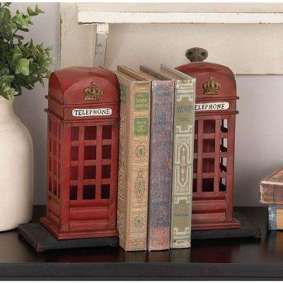 9 in. x 4 in. Metal British Phone Booth Bookend