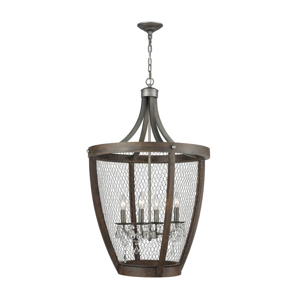 An Lighting Renaissance Invention 4 Light Weathered Zinc Basket Pendant