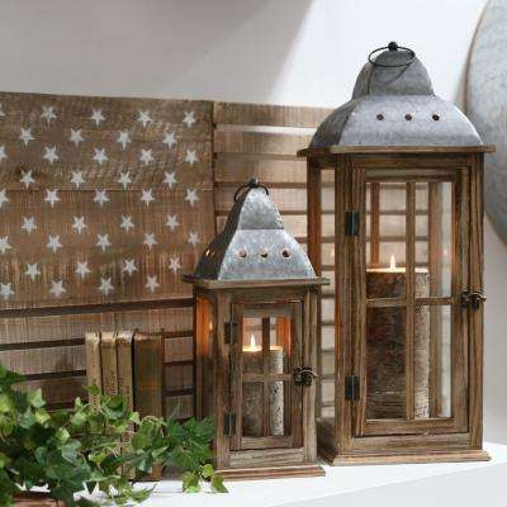 UTC31447: Brown Candle Wooden Decorative Lantern