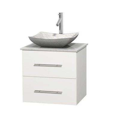 Centra 24 in. Vanity in White with Marble Vanity Top in Carrara White and Sink