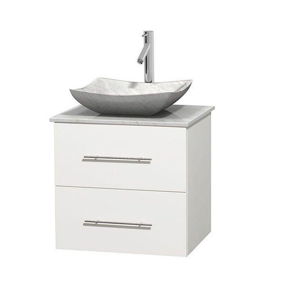 Wyndham Collection Centra 24 in. Vanity in White with Marble Vanity Top in Carrara White and Sink