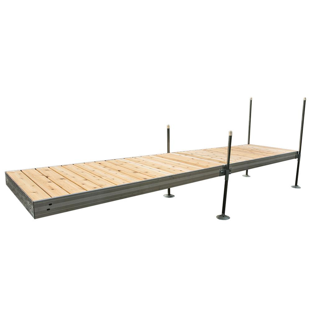 16 ft. Long Straight Aluminum Frame with Cedar Decking Complete Dock