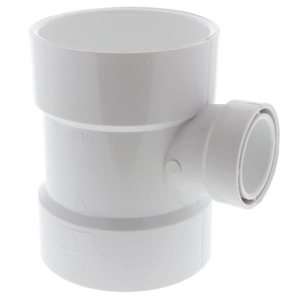 4 in. x 4 in. x 1-1/2 in. PVC DWV All Hub Sanitary Reducing Tee Fitting
