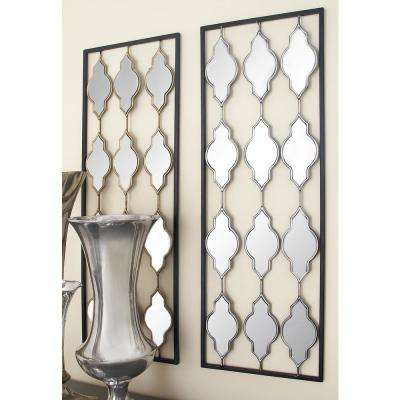 35 in. x 12 in. Bowtie Mirror and Metal Wall Decors (2-Piece)
