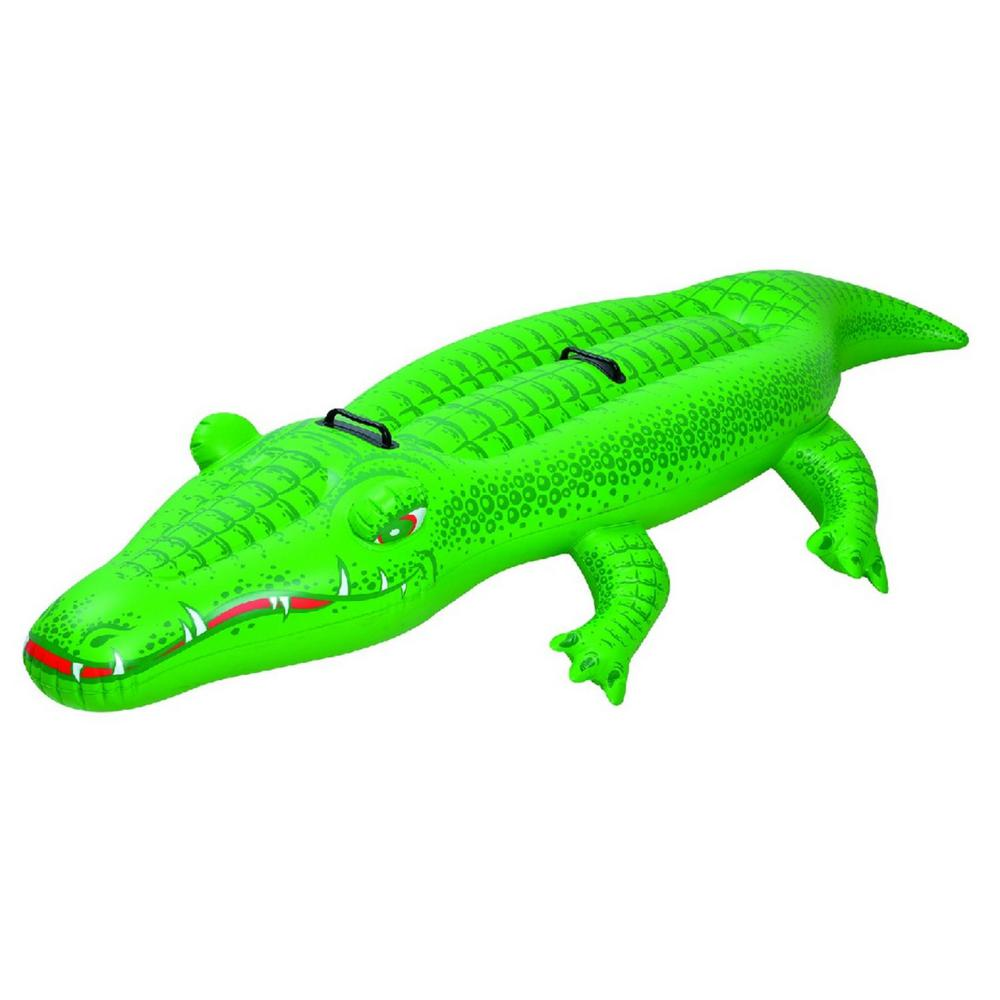 Green Crocodile Rider Inflatable Pool Float With Handles