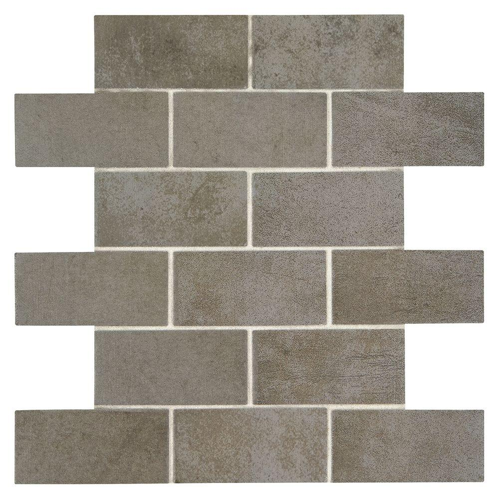 Marazzi studio life times square 12 in x 12 in x 6 mm ceramic marazzi studio life times square 12 in x 12 in x 6 mm ceramic brick joint mosaic tile sl0624bwhd1p2 the home depot dailygadgetfo Gallery