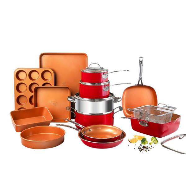 20-Piece Aluminum Ti-Ceramic Nonstick Cookware and Bakeware Set in Red