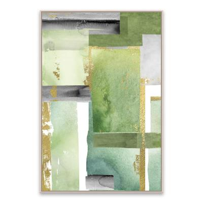 """""""Green Abstract"""" by Nikki Chu Framed Hand Embellished Canvas Wall Art"""