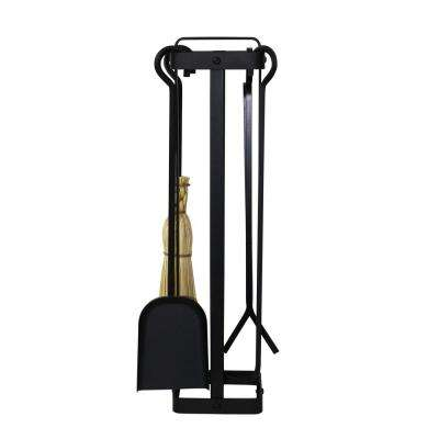 Handcrafted 4-Piece Indoor/Outdoor Square Fireplace Tool Set w Handle Black