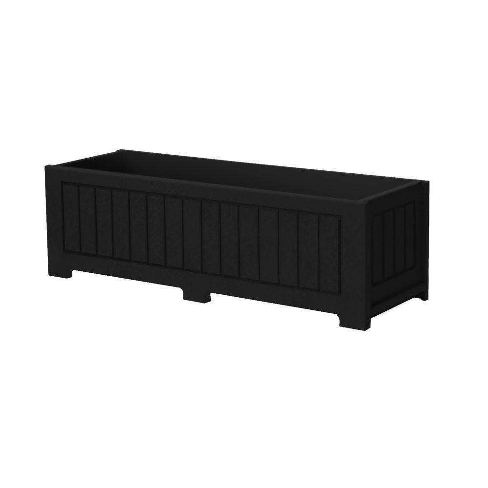 Catalina 34 in. x 12 in. Black Recycled Plastic Commercial Grade