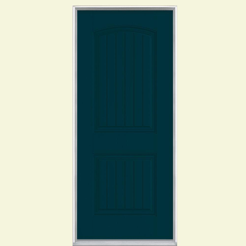 Masonite 32 in. x 80 in. Cheyenne 2-Panel Right-Hand Inswing Painted Smooth Fiberglass Prehung Front Door No Brickmold