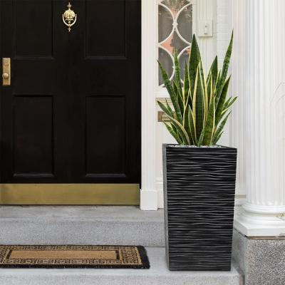 Serenity 13.5 in. x 26 in. Slate Rubber Self-Watering Planter