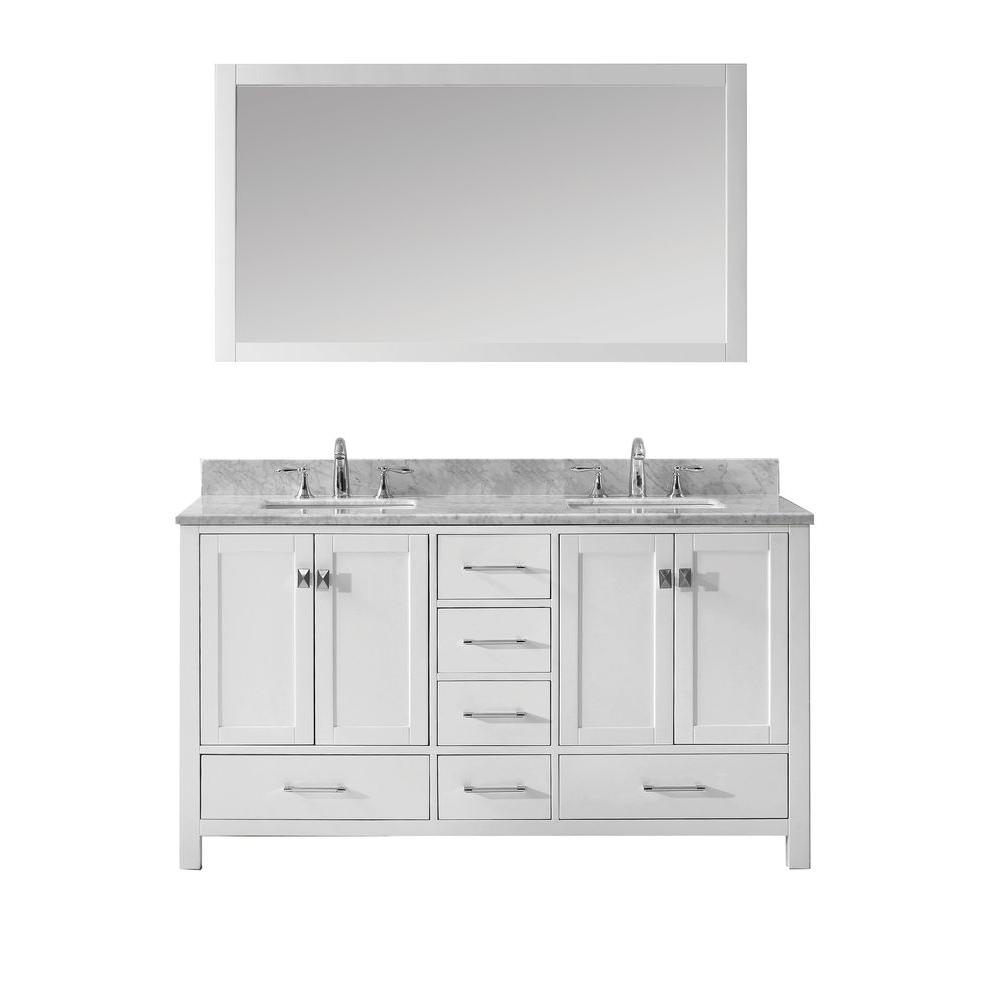 Virtu USA Caroline Avenue 60 in. W x 36 in. H Vanity with Marble Vanity Top in Carrara White with White Square Basin and Mirror