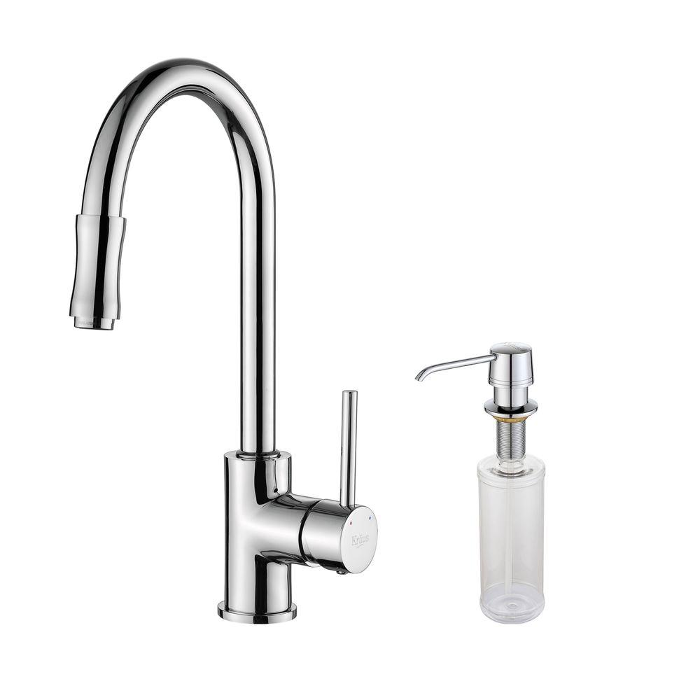 KRAUS Single-Handle Pull-Down Kitchen Faucet with Soap Dispenser in Chrome