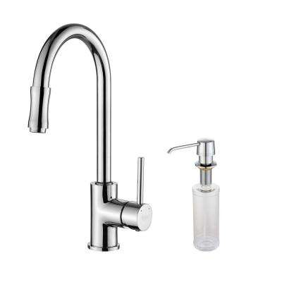 Single-Handle Pull-Down Kitchen Faucet with Soap Dispenser in Chrome