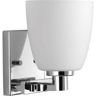 Fleet Collection 1-Light Polished Chrome Bath Sconce with Etched Opal Glass Shade