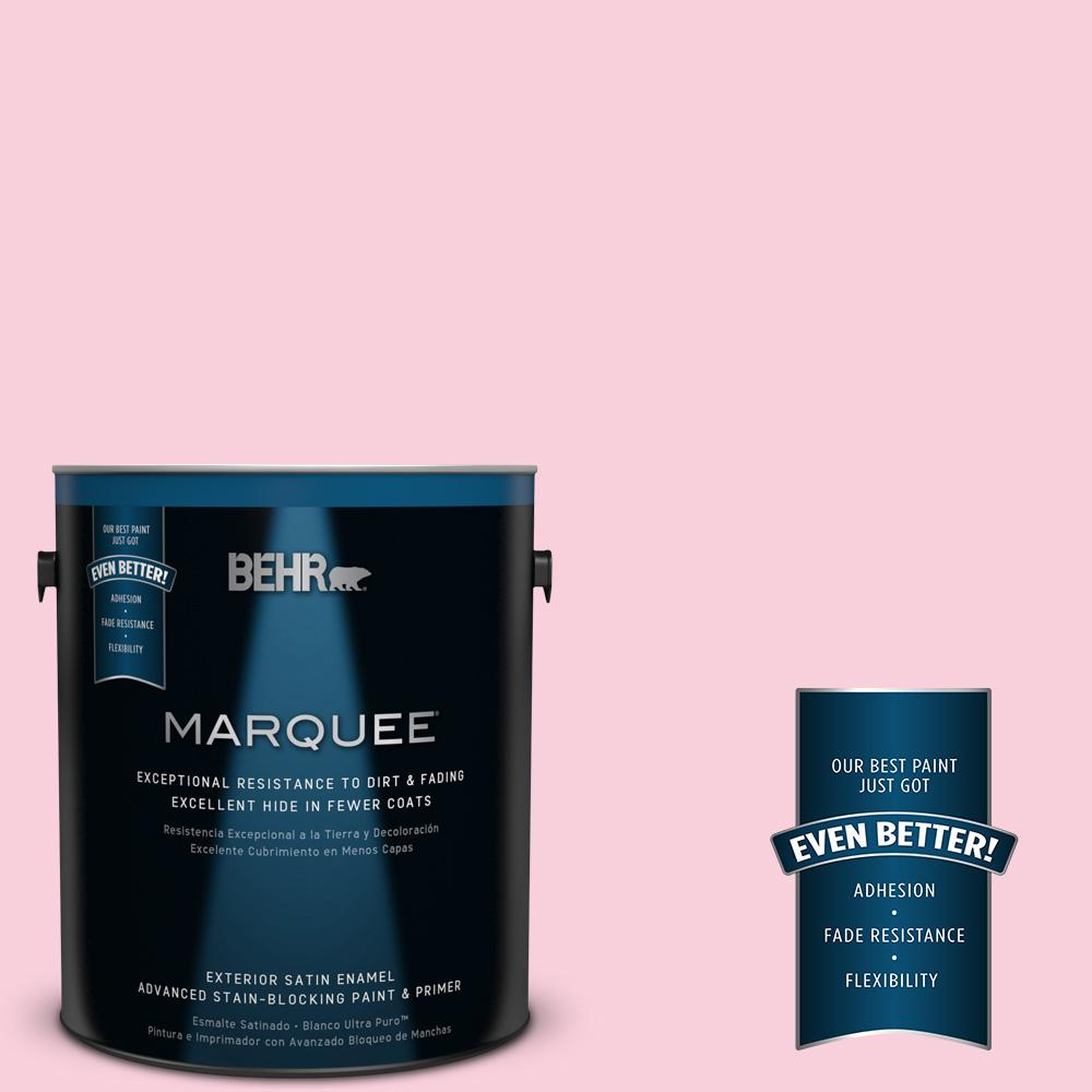BEHR MARQUEE 1-gal. #120C-1 April Blush Satin Enamel Exterior Paint