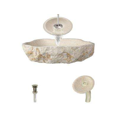 Stone Vessel Sink in Galaga Beige Marble with Waterfall Faucet and Pop-Up Drain in Brushed Nickel