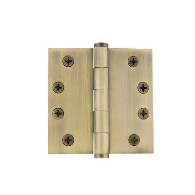 4 in. Button Tip Heavy-Duty Hinge with Square Corners in Vintage Brass