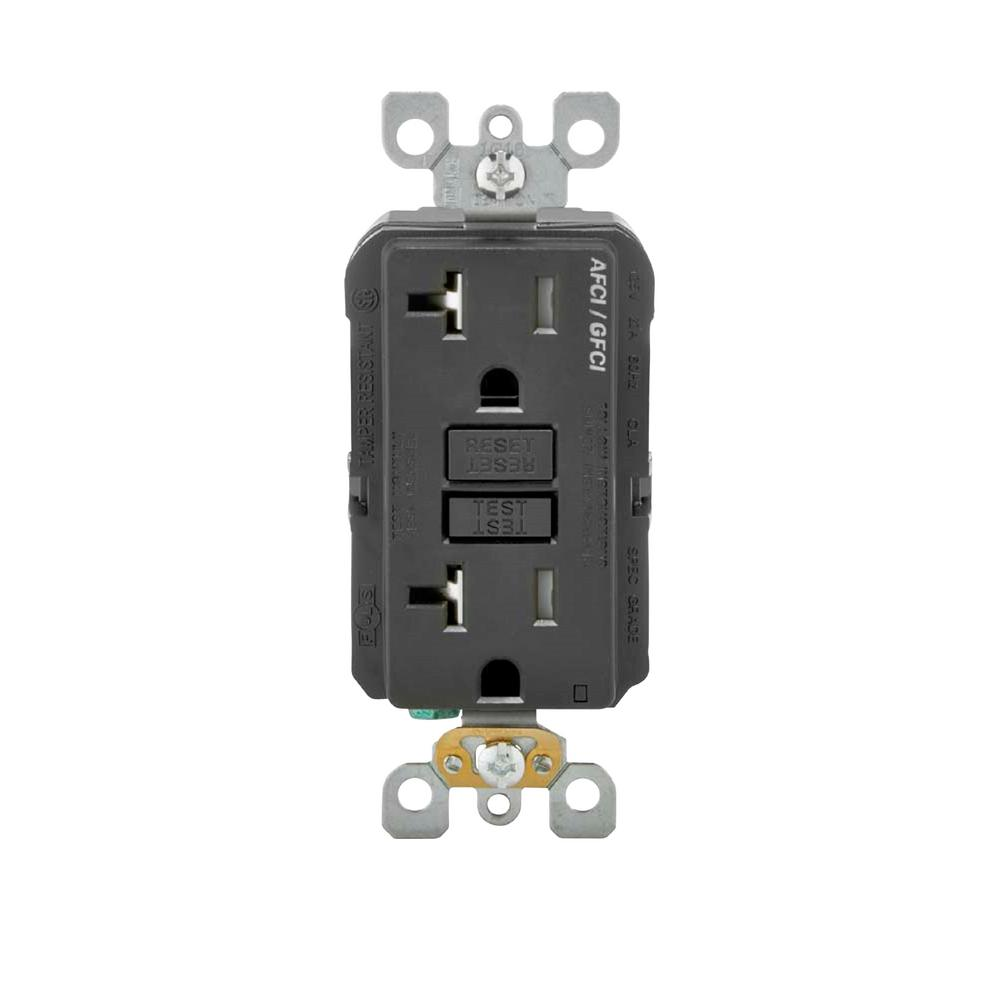 Ge 20 Amp Backyard Outlet With Switch And Gfi Receptacle U010s010grp Wiring A From Gfci 125 Volt Afci Dual Function Black