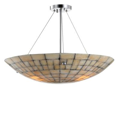 Sheila 24 in. 3-Ligth Cream Marble/Metal LED Pendant